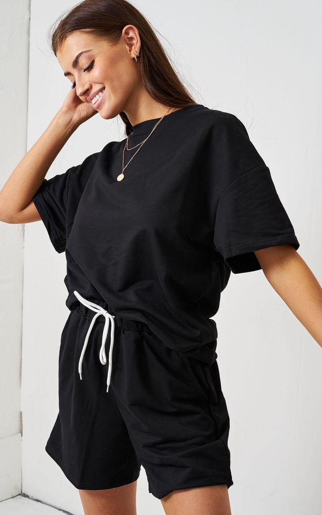 Black Jersey Loungewear Shorts & T-Shirt Set by love frontrow