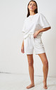 White Jersey Loungewear Shorts & T-Shirt Set by love frontrow