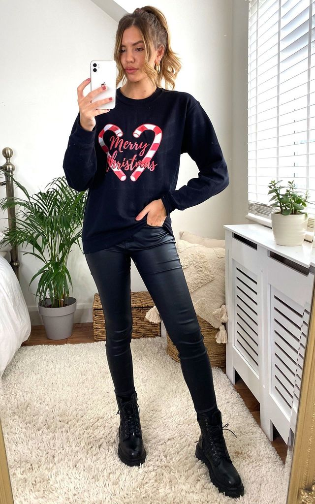 Black Christmas Candy Cane Jumper Sweatshirt by Fearless Alice Custom