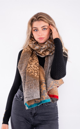 Leopard print scarf with bright coloured trim in multi colour by LOES House