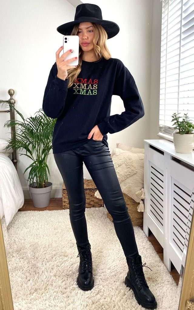 Black Christmas Embroidered Jumper Sweatshirt by Fearless Alice Custom