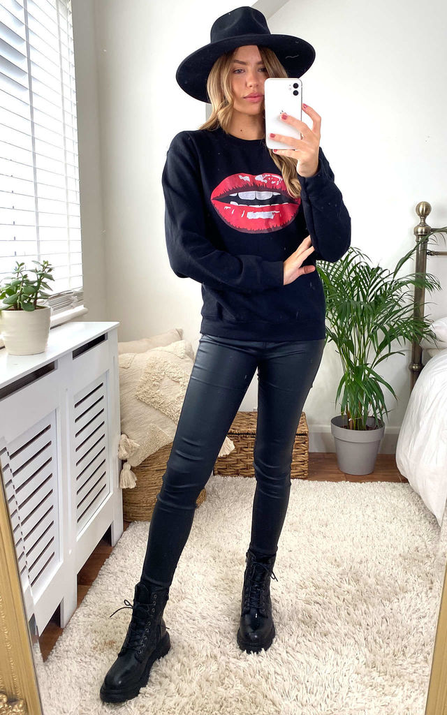 Oversized Black Sweatshirt with Red Lips Print by Fearless Alice Custom