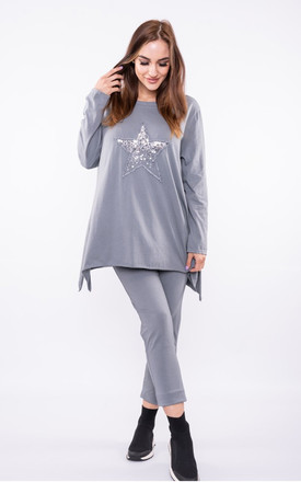 Sequin STAR tracksuit oversized sweat / oversized jogger in light grey by LOES House