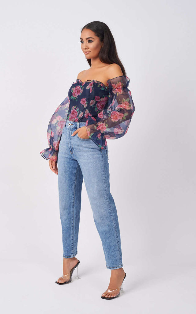 Navy Floral Organza Sleeve Bodysuit by Rare London