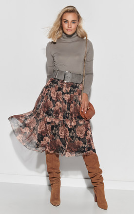 Tulle Midi Skirt In Powder Brown Floral Print by Makadamia Product photo