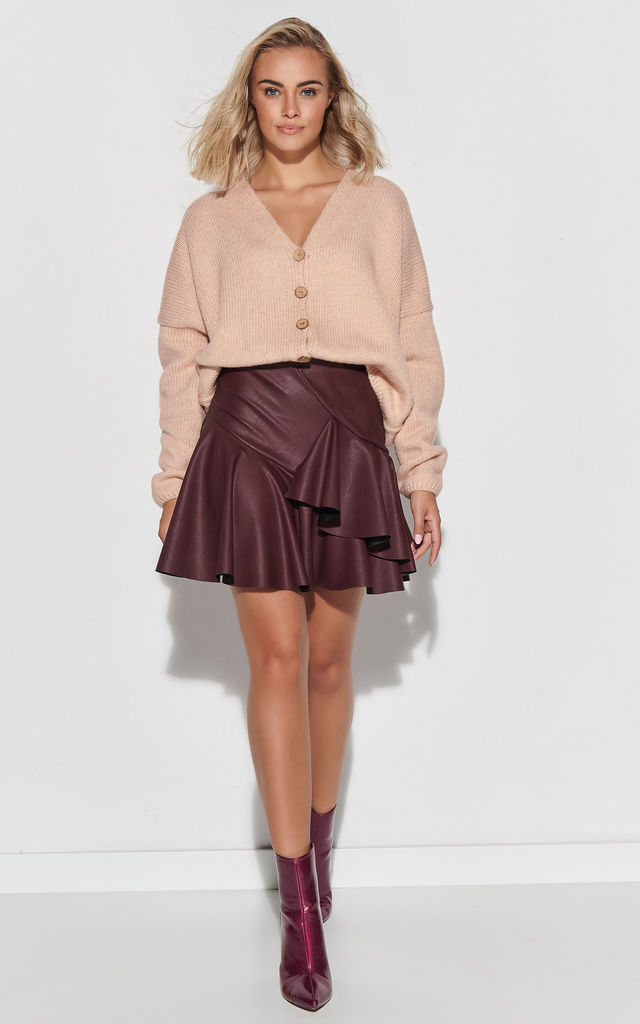 Flared Eco-Leather Mini Skirt in Plum by Makadamia