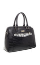 CROC PRINT TOTE WITH SNAKE PRINT FRONT POCKET BLACK by BESSIE LONDON
