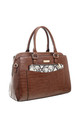 CROC PRINT TOTE WITH SNAKE PRINT FRONT POCKET COFFEE by BESSIE LONDON