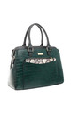 CROC PRINT TOTE WITH SNAKE PRINT FRONT POCKET GREEN by BESSIE LONDON
