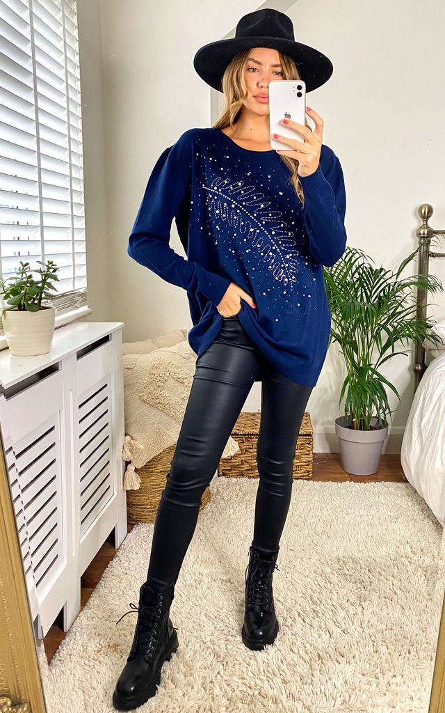 OVERSIZED SOFT KNIT FEATHER PEARLS EMBELISHED JUMPER IN NAVY by LOES House