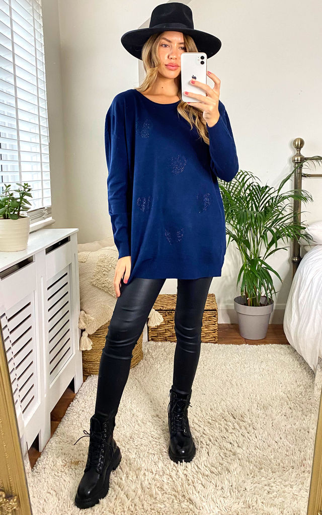 OVERSIZED SOFT KNIT HEARTS DIAMANTE JUMPER in Navy by LOES House