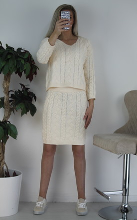 2 piece  knitted co-ords crème by Port boutique