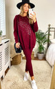 SOFT KNIT LOUNGEWEAR SET WITH PEARL JEWEL FEATHER IN WINE by LOES House
