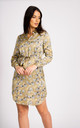 Gold Leaf Printed Satin Belted Shirt Dress by LOVE SUNSHINE