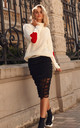 White Turtleneck Jumper with Hearts by Makadamia