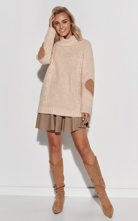 Beige Turtleneck Jumper with Hearts by Makadamia