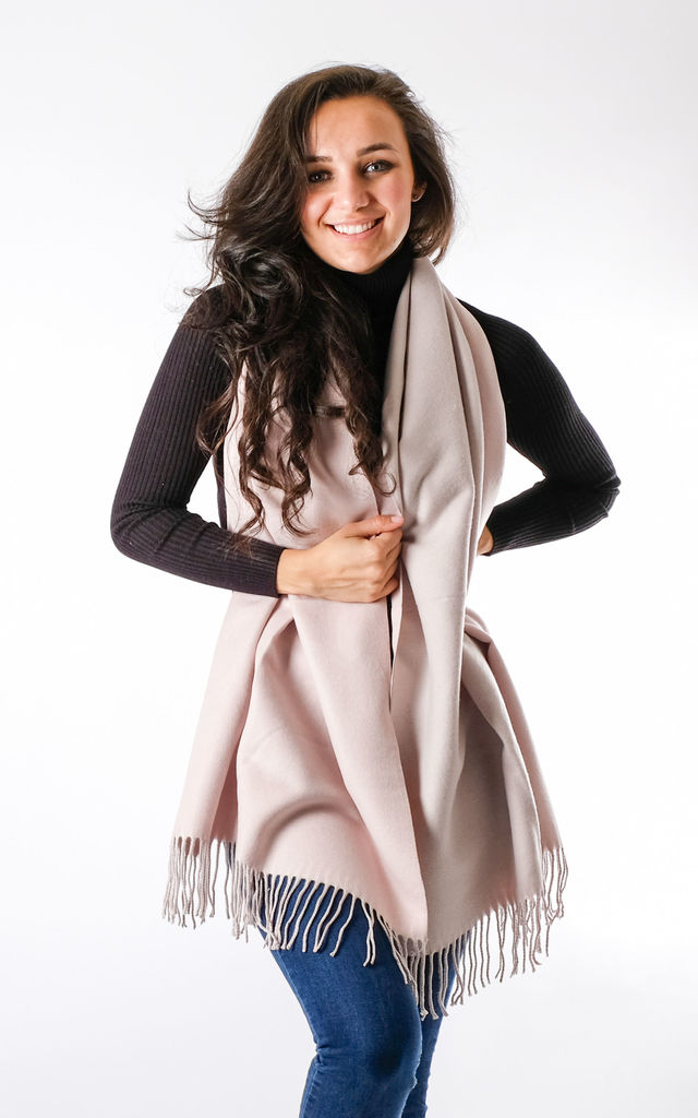 Wool Mix Two Tone Scarf In Dusty Light Pink/Neutral by Pinstripe