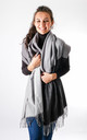 Wool Mix Two Tone Scarf In Black/Grey by Pinstripe