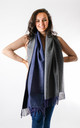 Wool Mix Two Tone Scarf In Navy/Grey by Pinstripe