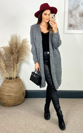 Mid Length Knitted Cardigan In Grey by Bella and Blue Product photo