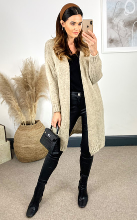 Mid Length Knitted Cardigan In Beige by Bella and Blue Product photo
