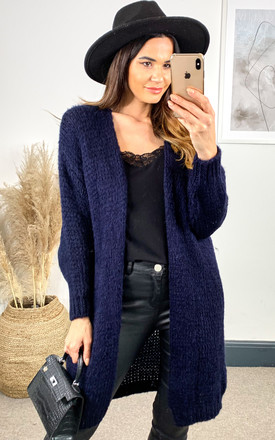 Mid Length Knitted Cardigan In Navy by Bella and Blue Product photo
