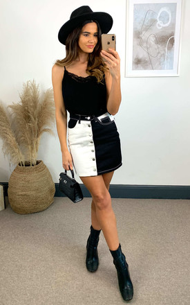 Black and White Contrast Denim Mini Skirt by Off The Railz
