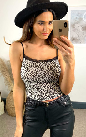 Lace Trim Leopard Cami Top by Cutie London
