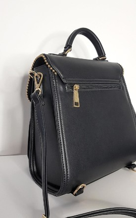 Dali Faux Leather Gold Detail Shoulder Bag in Black by IKRUSH