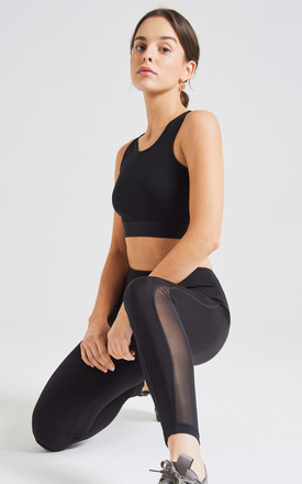 fasheon Black Mesh Detailed High Waisted Ankle Length Leggings by fasheon