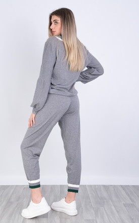 STRIPE Soft kintted long sleeve sweat and jogger loungeWEAR set IN grey by LOES House