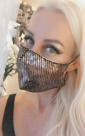 3 pack of bronze, silver and gold sequin cotton masks by Lovelock jewels