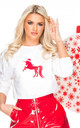 Unicorn Christmas Jumper in white and red by GET IT GRL