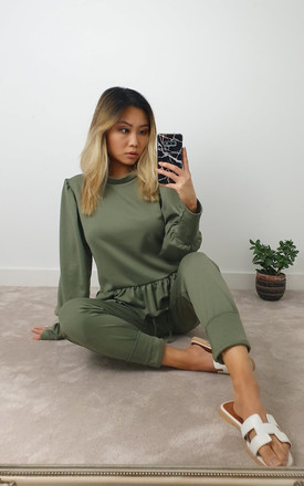 Khaki Frill Long Sleeve two piece Loungewear co ord set by GIGILAND