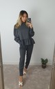 Dark Grey Frill Long Sleeve two piece Loungewear co ord set by GIGILAND