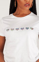 Silver Glitter Hearts Summer T-shirt in White by Lime Blonde