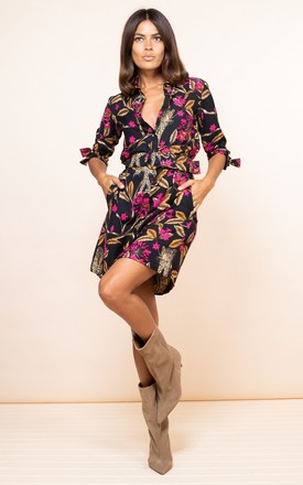 Jonah Mini Shirt Dress In Leopard Vines by Dancing Leopard Product photo