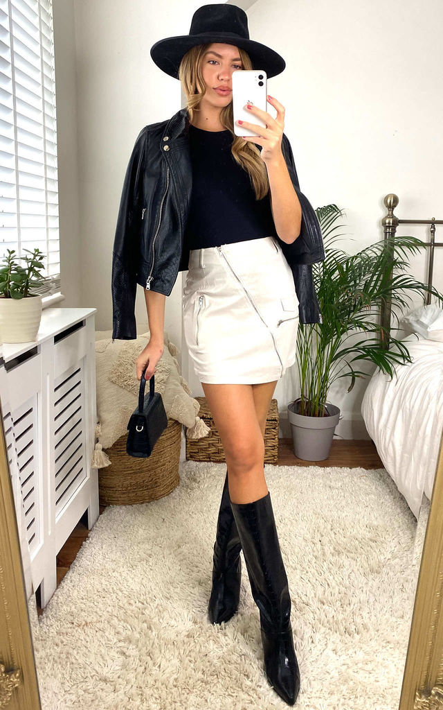 Cream Faux Sueded Belted Biker Mini Skirt by MISSTRUTH