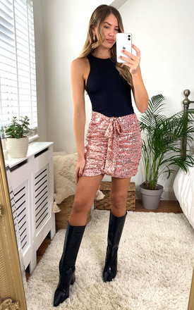 Sequin Ruched Mini Skirt In Rose Gold by MISSTRUTH