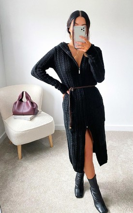 Holly Longline Cable Knit Cardigan in Black by IKRUSH
