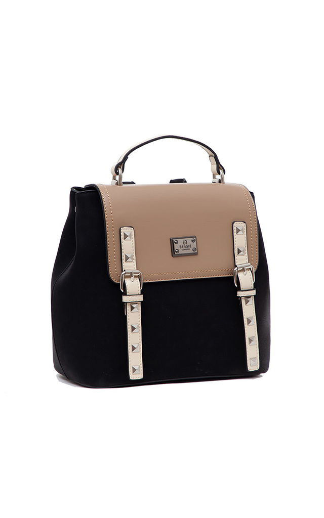 BUCKLE FLAP OVER TOP HANDLE BACKPACK BLACK by BESSIE LONDON