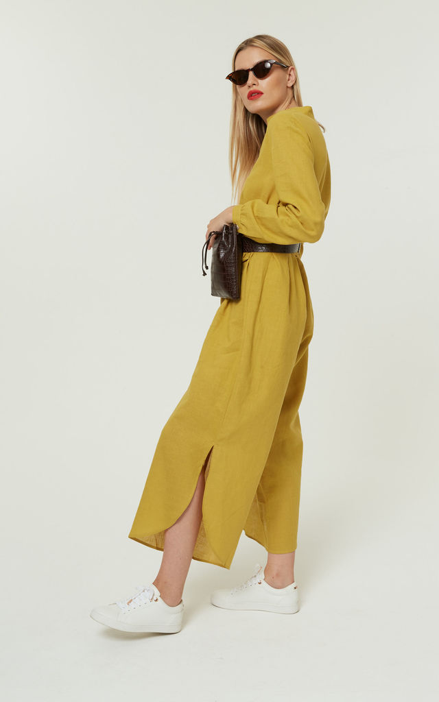 Thika Jumpsuit Tie Slits Yellow by Jovonna London