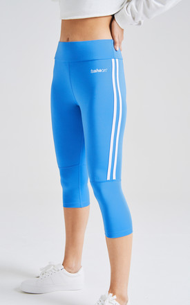 fasheon Blue High Waist Cropped Gym Leggings by fasheon
