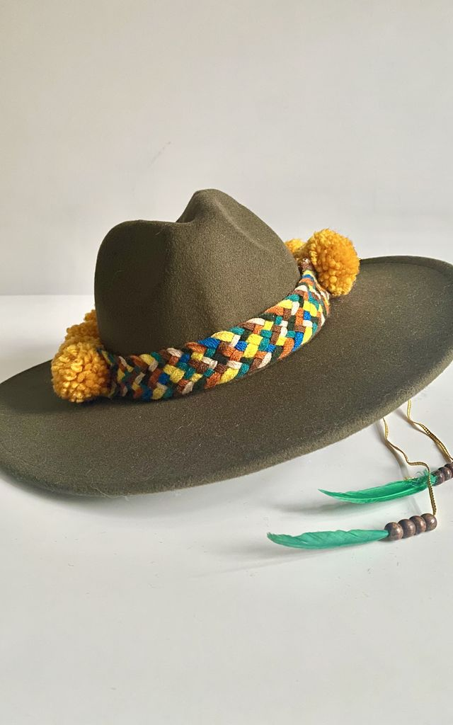 Plaited pompom feather green fedora hat by Kate Coleman