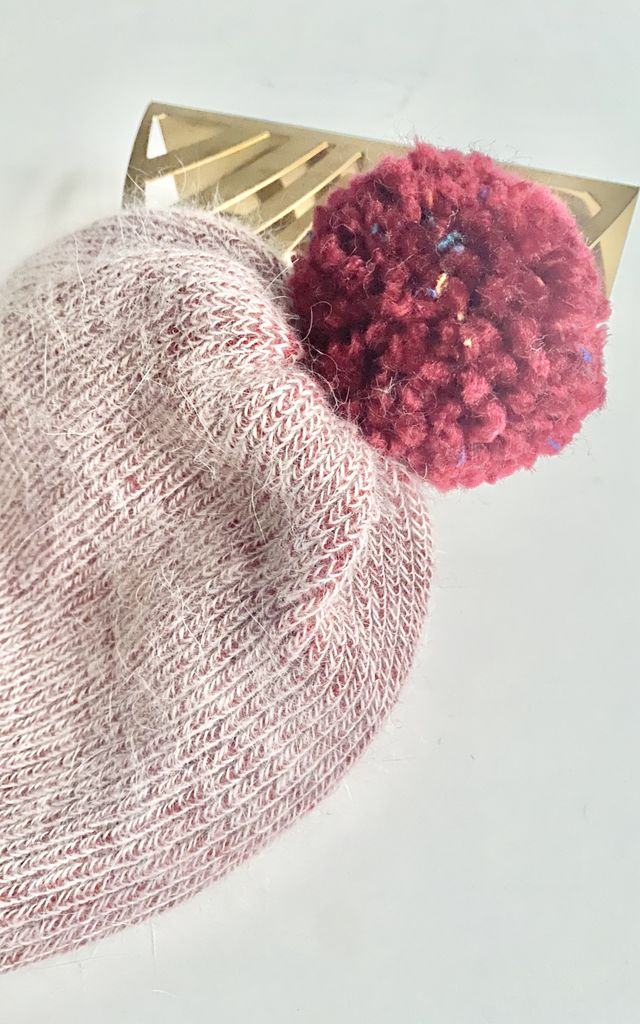 Cashmere pompom red wine beanie hat by Kate Coleman