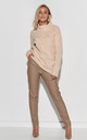 Loose Turtleneck Sweater in Beige by Makadamia