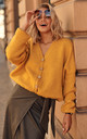Loose Cardigan Fastened with Buttons in Mustard by Makadamia