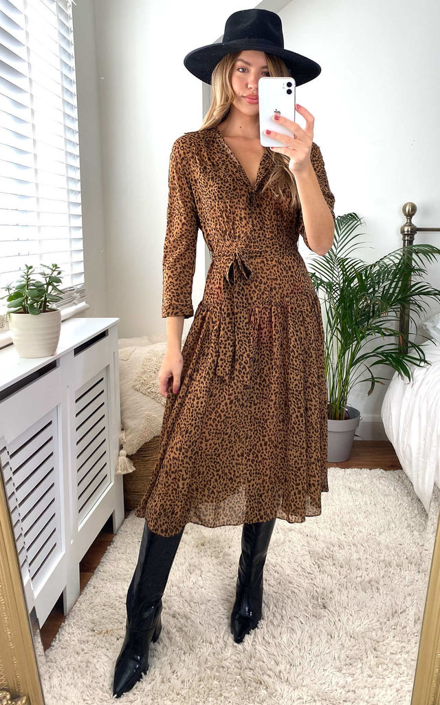 Indie Long Sleeve Pleat Shirt Dress in Animal print by Style Cheat