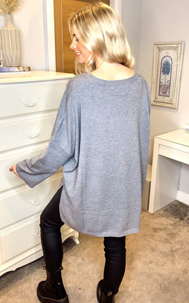 Oversized Boyfriend V Neck Jumper with Satin Turn Back Sleeves in Grey by Malissa J Collection