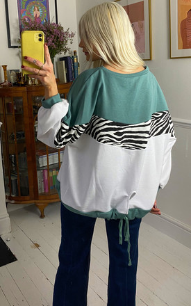 Liquorish Mint & White & Zebra Layered Top by Liquorish